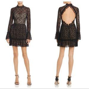 Saylor Amity Sheer Lace Open Back Flounce Dress